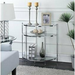 Pemberly Row Glass Console Table in Chrome