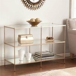 Bowery Hill Glass Top Console Table in Gold