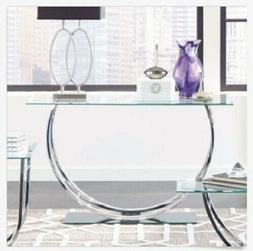 glass entryway table contemporary console silver chrome