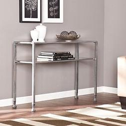 glass media console table silver frame finish