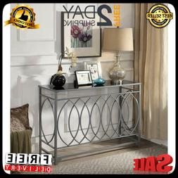 Glass Top Console Table Furniture Accent Black Entryway Sofa