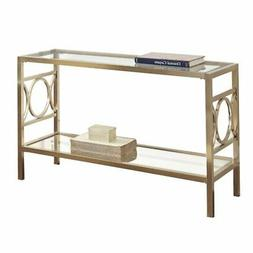 Bowery Hill Glass Top Console Table in Gold Chrome