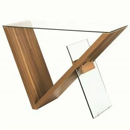 glass top console table in light walnut