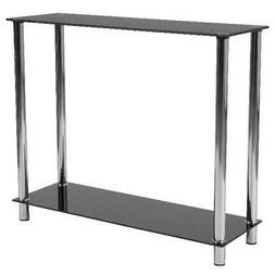 Glass Top Console Table Shelf Display Rack Storage Entryway