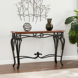 Dark Cherry Sofa Table Glass Top Metal Console Entry Hall Wa