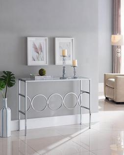 Glass Top Sofa Table Furniture Console Modern Accent Entrywa