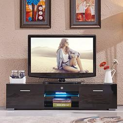 SUNCOO High Gloss TV Stand Unit Cabinet w/LED Shelves 2 Draw