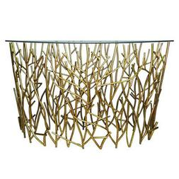 Gold Branches Demilune Twig Console Table Iron Sofa Modern H