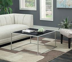 Convenience Concepts Gold Coast Faux Marble Coffee Table, Bl