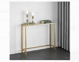 Gold Glass Metal Console Table Accent Contemporary Glam Disp