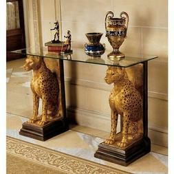 "Golden Royal Egyptian Jaguars 34.5"" Sculptural Console Glass"