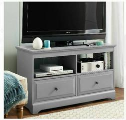 Gray Wood TV Stand Console Table Drawers Media Storage Holds