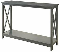 Grey Finish 3-Tier X-Design Occasional Console Sofa Table Bo