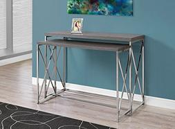 Monarch Specialties I 3227 Grey with Chrome Metal Console Ta