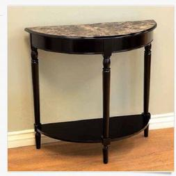 Half Moon Console Table Entryway Faux Marble Top French Coun
