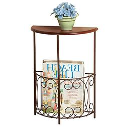 Half Round Side Accent Console Table with Magazine Holder