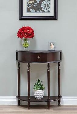 Hallway Entry Table Half Round with Drawer and Lower Shelf E