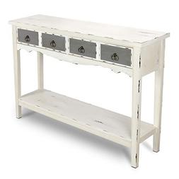 BELLEZE Hand Painted Distressed Antique White Finish Accent
