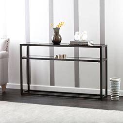 Holly & Martin Baldrick Glass Media Console Table, Matte Bla