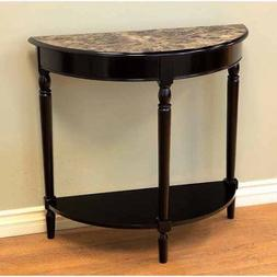 Home Craft Entryway Console Table Half Moon with Faux Marble