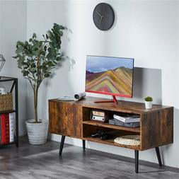 Home Rustic TV Stand Console Table W/ 2 Tier Storage Shelf C