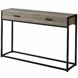 "Monarch Specialties I 351 48"" Long Wood Top Metal Console Ta"