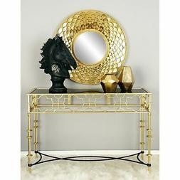Indoor Console Table Polished Light Gold with Lattice Detail