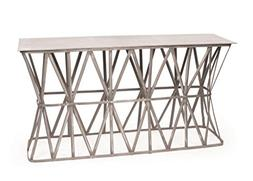 Industrial Console Table, Silver Metal