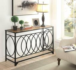 Industrial Console Table Accent Brown Entryway Hallway Metal