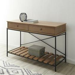 Vintage Wood and Metal Console Table with Criss-Cross in Bro