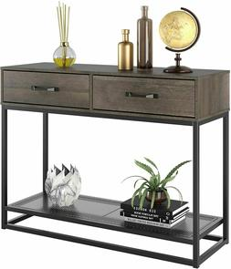 industrial console table entryway table with 2