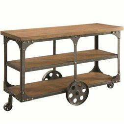 Bowery Hill Industrial Console Table in Rustic Brown