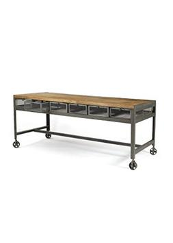 Industrial Console Table, Brown Wood