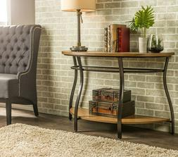 Industrial Wood and Metal Console Table Rustic Accent Sofa D