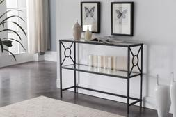 Kings Brand - Texture Black Metal Entryway Console Sofa Tabl