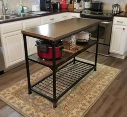 Kitchen Island Buffet Table Rustic Console Wood Metal Indust