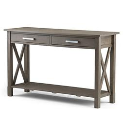 Simpli Home Kitchener Solid Wood Console Sofa Table, Farmhou
