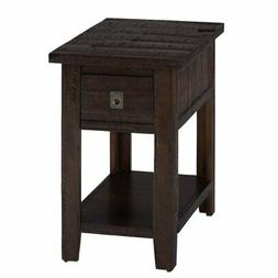 Jofran Kona Grove 1 Drawer End Table in Rustic Chocolate