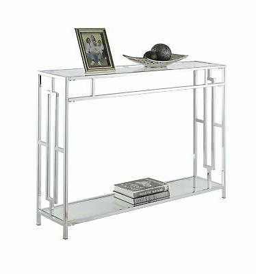 Convenience Concepts 135099 Square Table Clear Glass/Chrome Frame