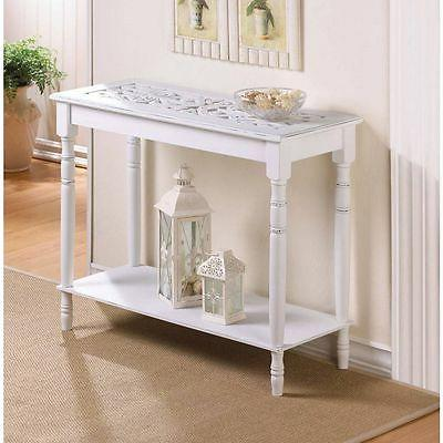 carved top distressed WHITE Shabby Wood Sofa console Entry H