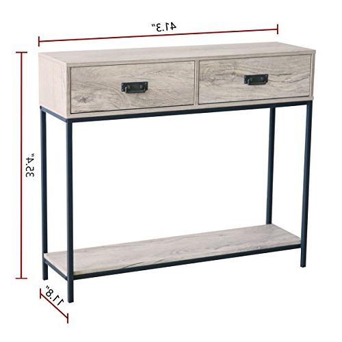 Roomfitters Console Table Tier Display Rectangular Modern Oak