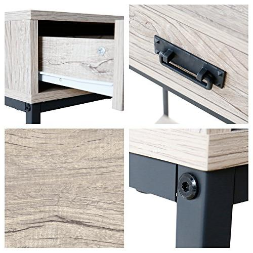 Roomfitters 2 Drawer Console Table, Sofa Tier Display Shelf, Rectangular Oak