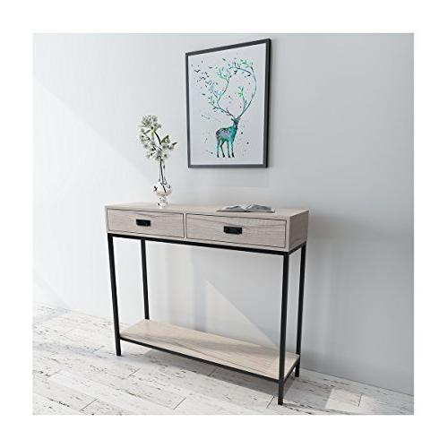 Console Table, for Tier Display Multipurpose Rectangular Modern Cabinet Oak