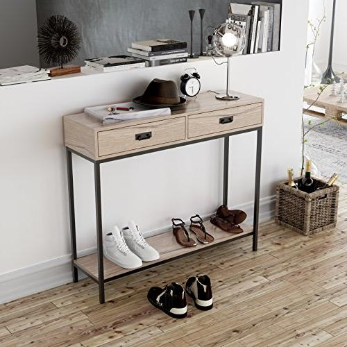 Roomfitters 2 Drawer Console Sofa for Tier Display Shelf, Rectangular Cabinet Oak Wood