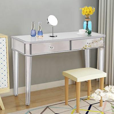 2 Drawer Mirrored Vanity Make-Up Desk Console Silver