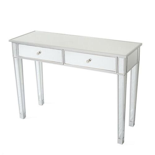 2 Drawer Mirrored Make-Up Desk Console Silver Glass Table