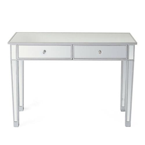 2 Drawer Make-Up Desk Console Silver