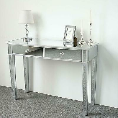 2 Mirrored Make-Up Desk Console Dressing Silver Table