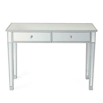 2 Drawer Vanity Make-Up Console Silver Modern
