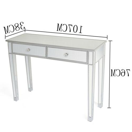 Make-Up Desk Console Dressing Silver Glass Table Modern